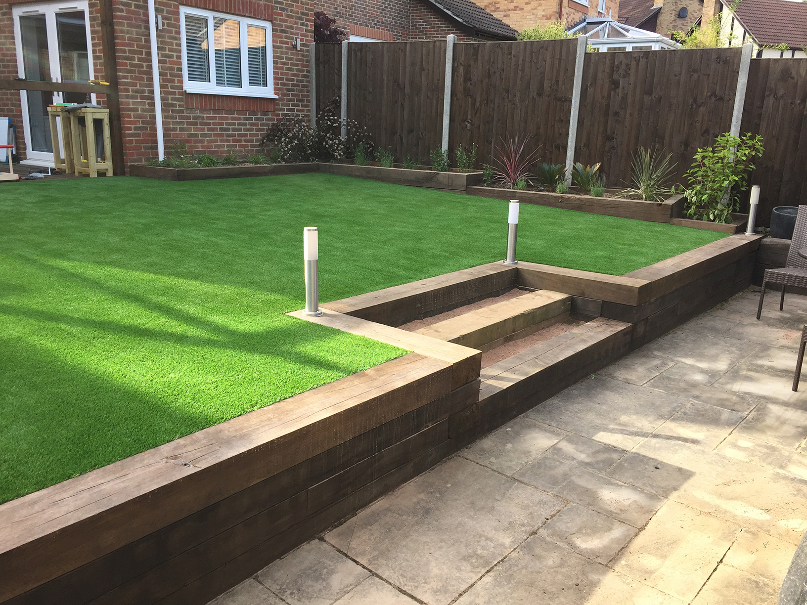 Artificial lawn and sleeper flower bed maple tree carpentry for Sleeper garden bed designs